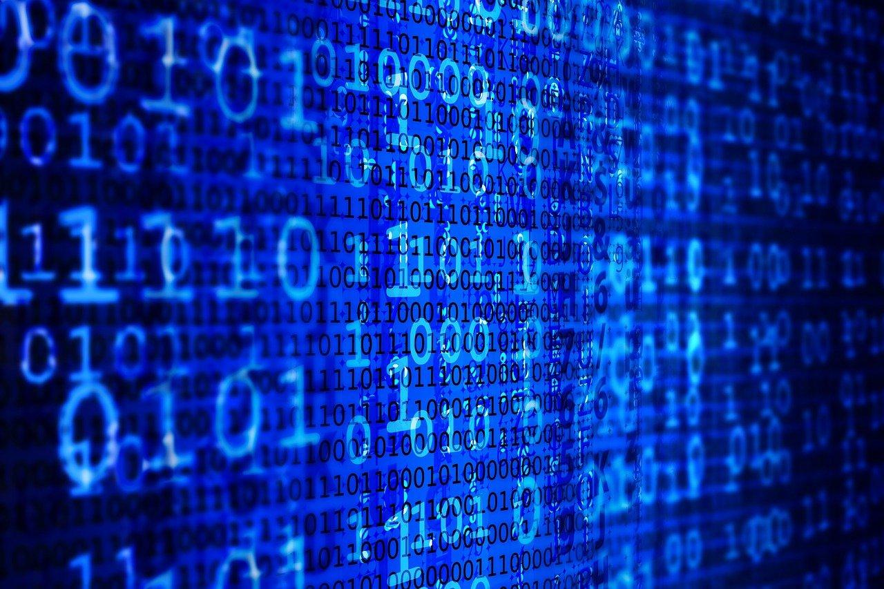 screen with binary code